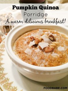 Pumpkin Quinoa Porridge - A Warm Delicious Breakfast! - this might as well be dessert because it tastes that good!