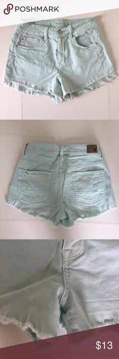 American Eagle Mint Cutoff Shorts So cute!! Mint colored shorts. Kind of high wasted but not really high. Little bit of stretch to them too. There is a small spot on one of the legs. Didn't notice it until I was taking pics. American Eagle Outfitters Shorts Jean Shorts