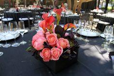 Coral & Black wedding reception flowers. www.fleursfrance.com