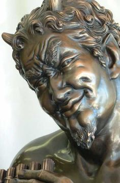 Bronze Mythical #sculpture by #sculptor Glenis Devereux titled: 'Pan the Lothario' #art