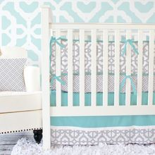 Beautiful color combo for a #boynursery or a #girlnursery #aqua and #gray mod baby #cribbedding.