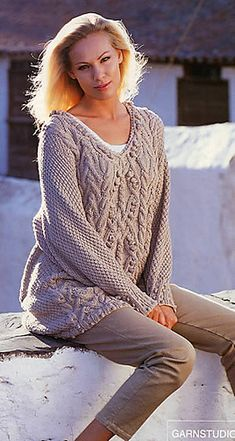 55-8 Sweater in Paris with Cables by DROPS design