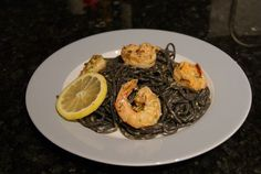 Squid Ink Spaghetti with Shrimp and Lemon Cream Sauce | DC Culinarian
