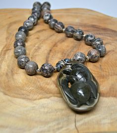 Turtles Carved Pendant with Multicolor Jasper Bead Necklace - pinned by pin4etsy.com