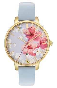 Ted Baker London is calling all nostalgic romantics with the painterly floral backdrop on this round watch.