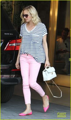 5bf5b319f54f Diane Kruger wearing Current Elliott Stiletto Jeans in Day Glow Pink