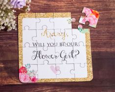 Will you be my Flower Girl Puzzle Flower Girl by XOXOKristen
