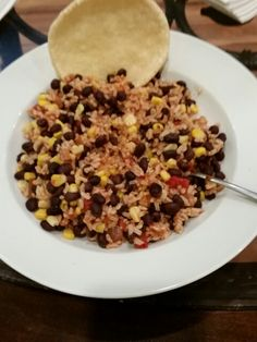 Rice, beans, corn and salsa with no fat corn broghies.