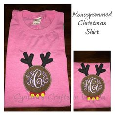Monogrammed Embroidered Christmas T-Shirt #embroidery #embroidered #monogram #monogrammed #applique #deer #christmasshirt #christmasoutfit #deermonogram #cynthiascraftsinvirginia #like #cute #cuteembroidery