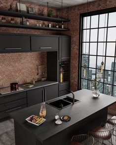 37 Top Kitchen Trends Design Ideas and Images for 2019 Part kitchen ideas; kitchen decorating ideas home renovation 37 Top Kitchen Trends Design Ideas and Images for 2019 Part 9 Industrial Kitchen Design, Industrial House, Industrial Interiors, Interior Design Kitchen, Rustic Kitchen, Industrial Kitchens, Modern Interior, Brick Interior, Black Interior Design