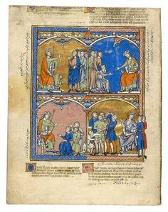 David's Command to Ziba; David's Great Charity; Diplomacy; Shameful Treatment   Fol. 40v   The Morgan Library & Museum