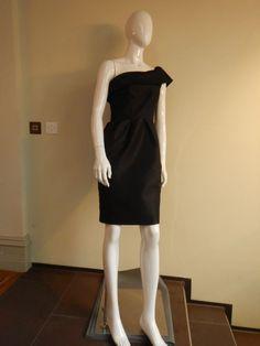 Suzannah Black Asymmetrical Silk Cocktail Dress Size 10