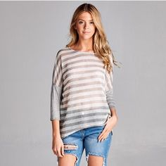 Sheer striped top Lightweight, loose fit heather gray top with sheer stopped front. Super soft and comfy! A relaxed, casual chic staple. Stock photos courtesy of April Spirit. Boutique Tops Tees - Long Sleeve