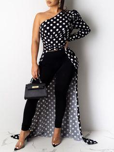 One Shoulder Polka Dot Puff Sleeve Dip Hem Longline Blouse - Women Store Off Shoulder Long Dress, Mode Kimono, Look Fashion, Womens Fashion, Cheap Fashion, Latest Fashion, Looks Chic, Black Blouse, Pattern Fashion