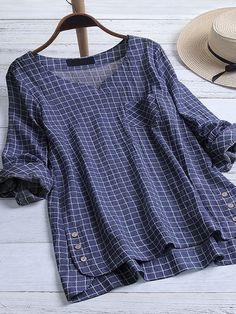 Tartan Casual Round Neckline Long Sleeve Blouses - Dark Blue / M Womens Fashion Online, Latest Fashion For Women, Latest Fashion Trends, Plaid, Tartan, Comic Con Cosplay, Linen Blouse, Blouses For Women, Men Sweater