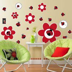 Ladybug Fancy Giant Wall Decals, 83455 (vinyl, peel and stick)