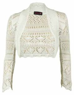 New Ladies Knitted Long Sleeve Bolero Shrug Womens Stretch Crochet Pattern Short Cardigan Top