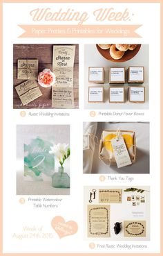 """Enjoying your Sunday yet? Today's post features """"Party Pretties and Printables"""" for Weddings! A few of which are free to download! Cool, huh?  #prettypartyprintables #weddingprintables"""