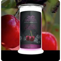 $24.95 for 21 oz candle Black Cherry scent!  https://www.jewelryincandles.com/store/scentsbybrittany/p/52:c:96/fresh-fruits/black-cherry-candle/ 100% all natural soy, hand poured in the USA. 100-150 hours of burning time. Wall to wall scent. Sweeten your mood with this amazing smelling candle! Hidden jewelry surprise inside. Choose between a women's ring, necklace, or earrings. Pick your ring size 6, 7, 8, 9. Jewelry in Candles.