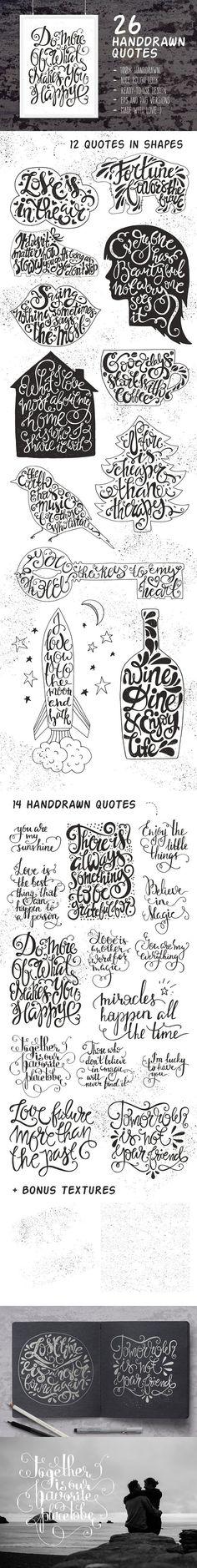 26 Handdrawn Romantic Posters. Romantic Fonts