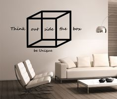Geometric Wall Decal Think outside the box design Mural interior design Science Education Art educational vinyl  education school nerd geek by StateOfTheWall on Etsy https://www.etsy.com/listing/224769155/geometric-wall-decal-think-outside-the