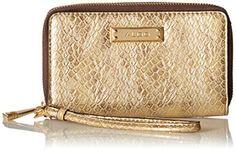 NOEDIA Wallet, Gold, One Size. Pockets: 2 interior slip, 1 interior zip, 3 exterior, 1 ID window, 9 card slots.