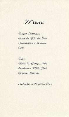 Aulanko menu 1970