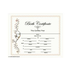 Baby Birth Certificate Template Adorable Obama Birth Certificate ❤ Liked On Polyvore Featuring Fillers  My .