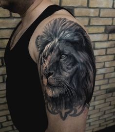 Lion tattoo on shoulder black and grey by Dimka Schegolev Lion Shoulder Tattoo, Lion Tattoo, Animal Tattoos, Tattoo Photos, Tattoo Inspiration, Black And Grey, Around The Worlds, Image, Ideas
