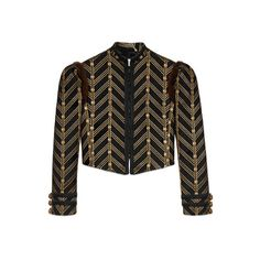 Gucci Metallic Jacquard Jacket ($4,200) ❤ liked on Polyvore featuring outerwear, jackets, gucci, jacquard jacket, metallic jacket, fur trim jacket and puff shoulder jacket