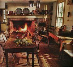 Primitive country, primitive furniture, primitive homes, primitive decor, p Primitive Homes, Primitive Dining Rooms, Primitive Kitchen, Country Primitive, Primitive Decor, Primitive Fireplace, Farmhouse Fireplace, Primitive Furniture, Cozy Fireplace