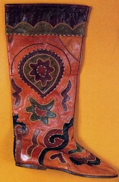 Tatar man's boot using 'leather mosaic' technique  FolkCostume&Embroidery: Tatarstan Men's Costume