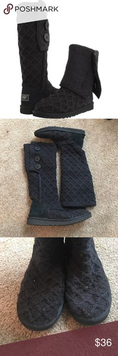 UGG Cardi Pre-loved worn UGG lattice cardigan boots || Can fold down, I always wore mine up || Wear in front from closet || Wear on inside from black socks || Wear on inside from pants (friction) || Price reflects wear UGG Shoes
