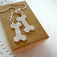 Seed Bead Bones Earrings with Sterling Silver by BeadCrumbs