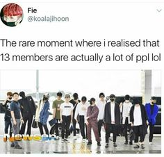 Wait what this looks like over 20 ppl at first glance wtf<<I stan nct, and it took me a long time to realize that 18 people in a group is actually a lot. Diecisiete Memes, Funny Kpop Memes, Woozi, Jeonghan, Nct, Steven Universe, Day6 Sungjin, Won Woo, Seventeen Memes