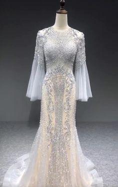 Muslim Wedding Gown, Kebaya Wedding, Muslimah Wedding Dress, Wedding Hijab Styles, Fancy Wedding Dresses, Sheer Wedding Dress, Hijab Evening Dress, Evening Dresses Uk, Bridesmaid Dresses
