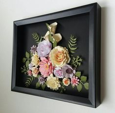 Flower Wall Art Handcrafted Multicolor Floral Arrangements in Box Frame for Home Office Wall Shelf Table Decor Gift Item Flower Shadow Box, Flower Box Gift, Flower Boxes, Box Frame Art, Box Frames, Paper Flowers Craft, Flower Crafts, Creation Deco, Paper Flower Tutorial