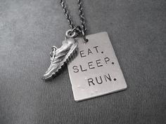EAT SLEEP RUN with Running Shoe Running Necklace on by TheRunHome, $22.00