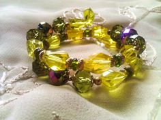Vintage Green yellow and Gold Beaded Multi Strand  by SEEDESIGNS2, $15.00