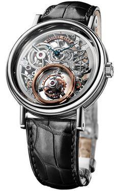 Breguet Tourbillion Messidor Skeleton Dial Platinum Black Leather Men's Watch 5335PT429W6