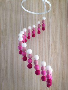Baby Girl Mobile - Baby Crib Mobile - Felt Baby Mobile - Cot Mobile - Nursery Decor - Spiral Pattern by LLcoolHDesigns on Etsy Baby Mädchen Mobile, Cot Mobile, Diy And Crafts, Crafts For Kids, Diy Bebe, Pom Pom Crafts, Spiral Pattern, Baby Girl Nursery Decor, Felt Baby