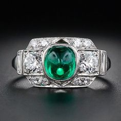 Art Deco Emerald Cabochon and Diamond Platinum Ring - 30-1-5035 - Lang Antiques