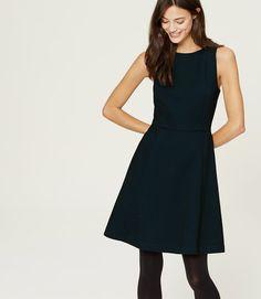 Ann Taylor Loft Dot Flare Dress, textured dot pattern in blue on black, flared sleeveless dress, back zip