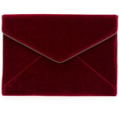 Rebecca Minkoff envelope clutch ($119) ❤ liked on Polyvore featuring bags, handbags, clutches, bolsa, purses, accessories, red, rebecca minkoff purse, velvet handbags and red handbags