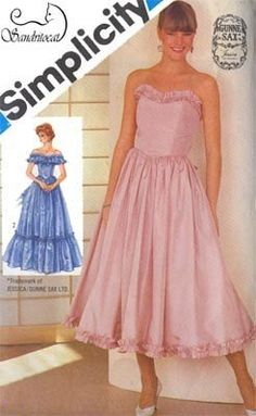 dc1b69d0ed2d Vintage 1980s 80s Bare Shoulder Evening Dress w  Fitted Bodice and Ruffles  Sewing Pattern Simplicity 6386 Gunne Sax Dress Size 6-8 UNCUT