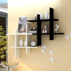 The newest catalog of corner wall shelves designs for modern home interior wall decoration latest trends in wooden wall shelf design as home interior decor trends in Indian houses Wall Shelf Rack, Corner Wall Shelves, Wooden Wall Shelves, Floating Wall Shelves, Wall Shelves Design, Wall Mounted Shelves, Wood Wall, Metallic Paint Walls, Plafond Design