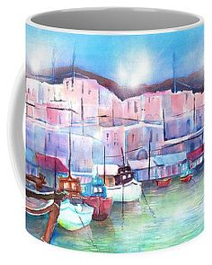 Greek Island Paros Naoussa Harbor Coffee Mug by Sabina Von Arx Mugs For Sale, Creative Colour, Unique Coffee Mugs, In Ancient Times, Paros, Greek Islands, Beautiful Artwork, Colorful Backgrounds, Fine Art America