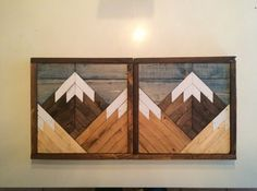 We make each piece by hand using reclaimed wood which allows each piece to have its own unique character. Also guarunteeing your piece will be a one of a kind. These stained mountain tops are sold in a 2 piece set and are available in several different sizes. Size listed is the overall size of the 2 pieces. Hanging hardware included on back. Would you like this in a custom size or colors? Just let us know and we can create a custom order for you. Thank you for visiting my shop. Please…