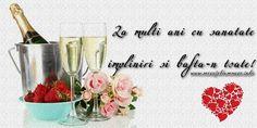 La multi ani La multi ani cu sanatate, impliniri si bafta-n toate! Happy B Day, Wine Glass, Happy Birthday, Place Card Holders, Handmade, Easter, Facebook, Drawings, Crochet