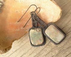 Rustic Rough White Opal Copper Earrings by annamei on Etsy